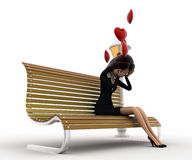 3d woman sitting on batch and in love with hearts flying concept Stock Photos