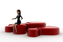 3d woman sitting on big red question makr concept Stock Photography