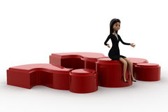 3d woman sitting on big red question makr concept Royalty Free Stock Photos