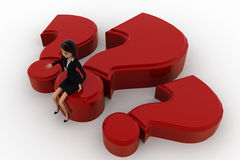 3d woman sitting on big red question makr concept Stock Images