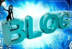 3d woman sitting on blog text illustrations Royalty Free Stock Photos
