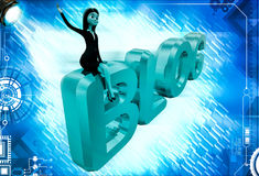 3d woman sitting on blog text illustrations Stock Images