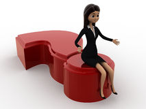 3d woman with sitting on question mark concept Royalty Free Stock Images