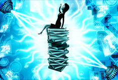 3d woman sitting on top of bunch of files illustration Stock Photos