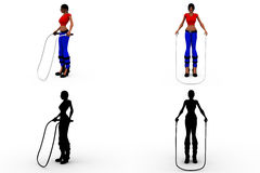 3d woman skipping concept collections with alpha and shadow channel Royalty Free Stock Image