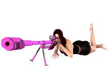 3D woman with sniper rifle Stock Photography