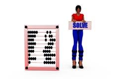 3d woman solve concept Stock Photos