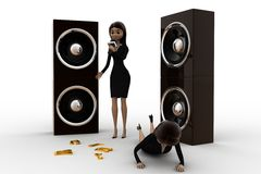 3d woman song so bad loudly concept Royalty Free Stock Images