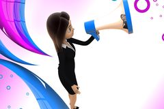 3d character conveying message through  speaker illustration Royalty Free Stock Photography
