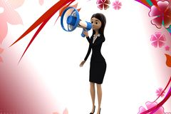 3d character conveying message through  speaker illustration Royalty Free Stock Photo