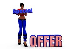 3d woman speciall offer concept Stock Photography