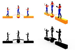 3d woman stability concept Collections With Alpha And Shadow Channel Stock Image