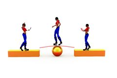 3d woman stability concept Royalty Free Stock Photo