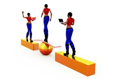 3d woman stability concept Royalty Free Stock Photos