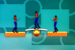 3d woman stability illustration Stock Photography