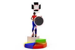 3d woman on stage with lights concept Royalty Free Stock Photos