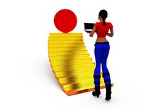 3d woman stairs concept Stock Image
