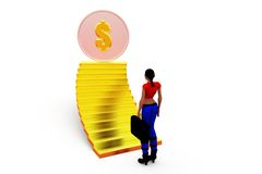 3d woman stairs concept Stock Images