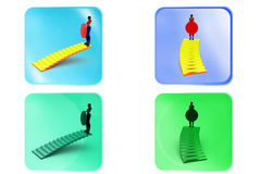 3d woman stairs target concept Royalty Free Stock Photos