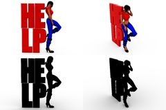 3d woman stand with help Concept Collections With Alpha And Shadow Channel Stock Photos