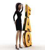 3d woman standing aside faq text concept Stock Image
