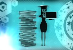 3d woman standing aside files with laptop in hand illustration Stock Photography