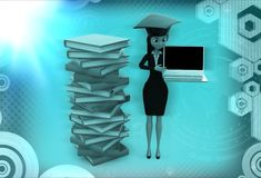 3d woman standing aside files with laptop in hand illustration Stock Image