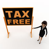 3d woman standing aside notice board with tax free text on it concept Royalty Free Stock Photo