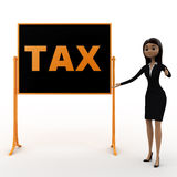 3d woman standing aside notice board with tax text on it concept Royalty Free Stock Image