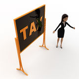 3d woman standing aside notice board with tax text on it concept Royalty Free Stock Images