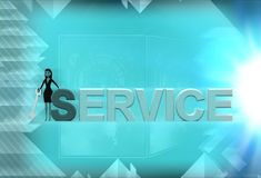 3d woman standing aside service text illustration Stock Photo