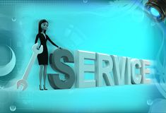 3d woman standing aside service text illustration Stock Photography