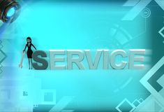3d woman standing aside service text illustration Royalty Free Stock Image