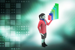 3d woman standing with business graph Stock Photography