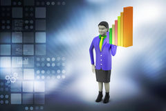 3d woman standing with business graph Royalty Free Stock Images