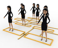 3d woman standing on flow chart concept Stock Photo