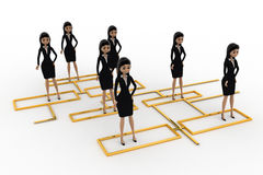 3d woman standing on flow chart concept Royalty Free Stock Photo