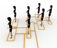 3d woman standing on flow chart concept Royalty Free Stock Image