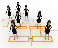 3d woman standing on flow chart concept Royalty Free Stock Images