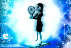 3d woman standing with medal illustration Royalty Free Stock Image