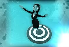 3d woman standing on target board illustration Stock Photo