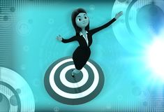 3d woman standing on target board illustration Royalty Free Stock Photos