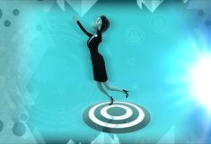 3d woman standing on target board illustration Royalty Free Stock Photography