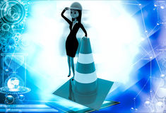 3d woman standing with traffic cone illustration Stock Photos
