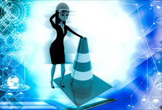 3d woman standing with traffic cone illustration Royalty Free Stock Photos