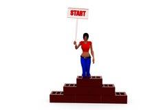 3d woman start concept Stock Photo