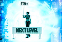 3d woman with start level sing board illustration Royalty Free Stock Photos
