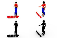 3d woman start up concept Collections With Alpha And Shadow Channel Royalty Free Stock Photography