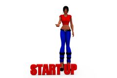 3d woman start up concept Stock Photography