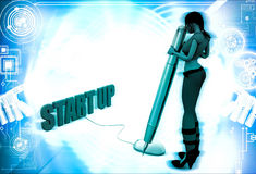 3d woman with start up mouse and pen illustration Royalty Free Stock Images